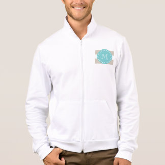 Beige White Stripes Pattern, Teal Monogram Jacket