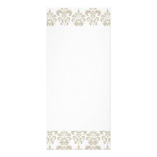 BEIGE WHITE VINTAGE DAMASK PATTERN 2 RACK CARD TEMPLATE