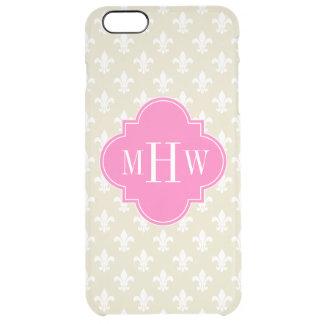 Beige Wht Fleur de Lis Hot Pink 3 Initial Monogram Clear iPhone 6 Plus Case