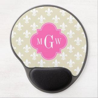 Beige Wht Fleur de Lis Hot Pink 3 Initial Monogram Gel Mouse Mat