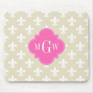Beige Wht Fleur de Lis Hot Pink 3 Initial Monogram Mouse Pads