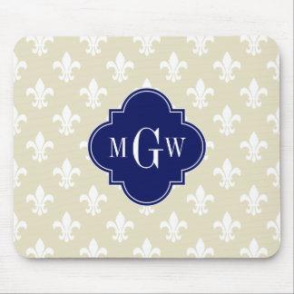 Beige Wht Fleur de Lis Navy 3 Initial Monogram Mouse Pad