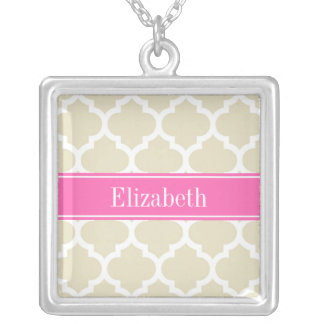 Beige Wht Moroccan #5 Hot Pink #2 Name Monogram Necklace