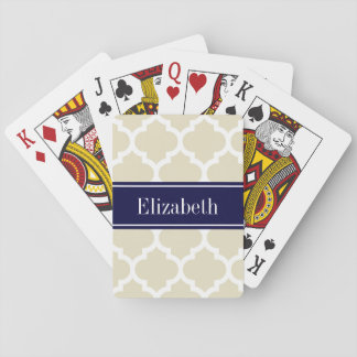 Beige Wht Moroccan #5 Navy Blue Name Monogram Playing Cards