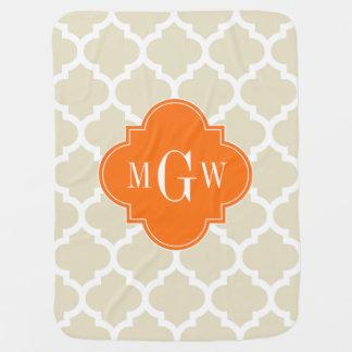 Beige, Wht Moroccan #5 Pumpkin 3 Initial Monogram Baby Blanket