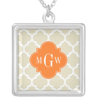 Beige, Wht Moroccan #5 Pumpkin 3 Initial Monogram Custom Necklace