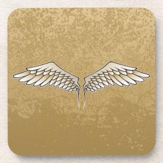 Beige wings beverage coaster