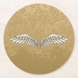 Beige wings round paper coaster