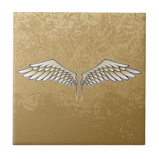 Beige wings small square tile