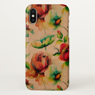 Beige Wood & Red Budding Roses iPhone X Case