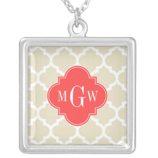 Beige, Wt Moroccan #5 Coral Red 3 Initial Monogram Jewelry