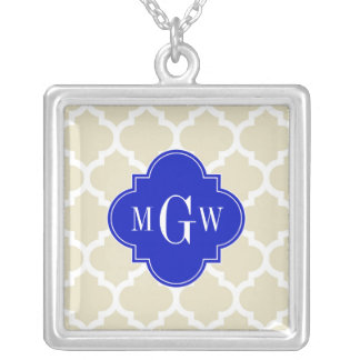 Beige Wt Moroccan #5 Royal Blue 3 Initial Monogram Custom Jewelry