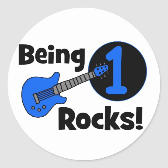 Being 1 Rocks! with Blue Guitar Round Sticker