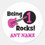 Being 1 Rocks! with Pink Guitar Round Sticker