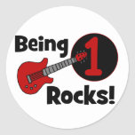 Being 1 Rocks! with Red Guitar Round Stickers