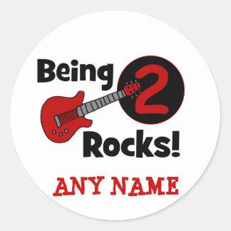 Being 2 Rocks! with Guitar Round Sticker