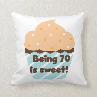 Being 70 is Sweet Birthday T-shirts and Gifts Throw Pillow