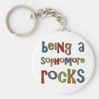 Being A Sophomore Rocks Basic Round Button Key Ring
