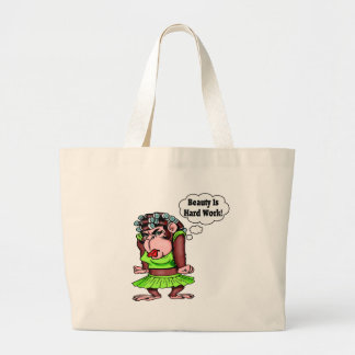 Being Beautiful Is Hard Work Large Tote Bag