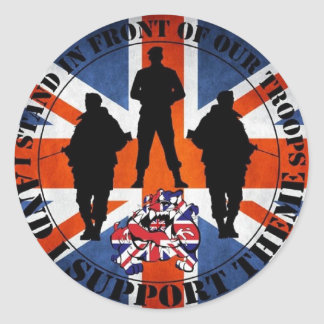 Being located in front OF our Troops Round Sticker