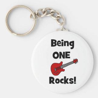 Being One (1) Rocks! Basic Round Button Key Ring