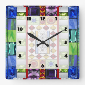 Bejeweled 1 square wall clock