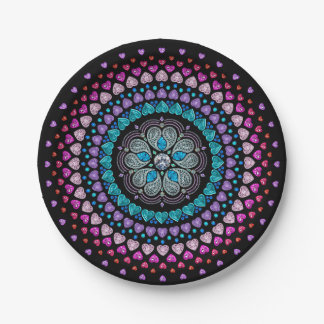 Bejeweled Diamond Heart Explosion 7 Inch Paper Plate