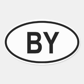 """Belarus """"BY"""" Oval Sticker"""