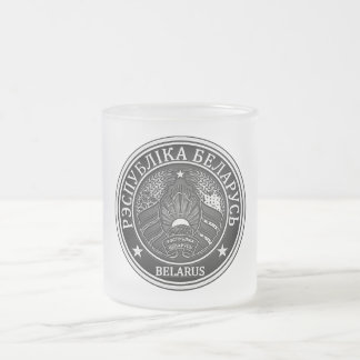 Belarus  Round Emblem Frosted Glass Coffee Mug