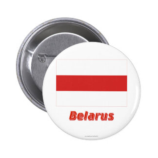 Belarus Traditional Flag with Name 6 Cm Round Badge