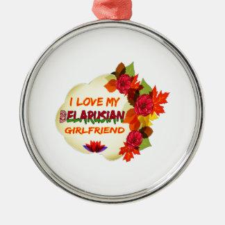 Belarusian Girlfriend designs Round Metal Christmas Ornament