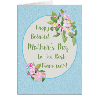 Belated Mother's Day Card, Apple Blossom, Sky Blue Card