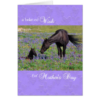 Belated Mother's Day Card Mustang Mare with Foal