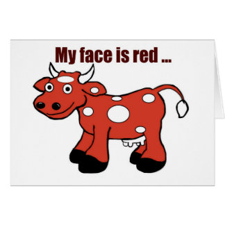 Belated Red Cow Birthday Greeting Greeting Cards
