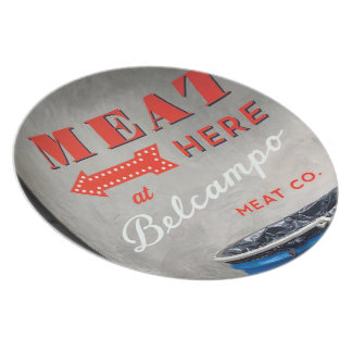 """Belcampo """"Meat Here"""" Melamine Plate"""
