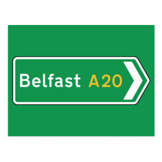 Belfast, UK Road Sign Postcard