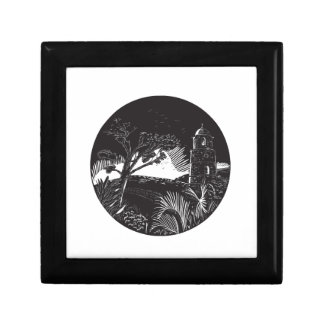 Belfry Tower On Hill Trees Circle Woodcut Gift Box