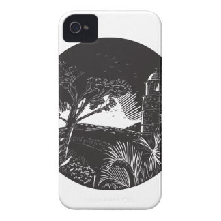 Belfry Tower On Hill Trees Circle Woodcut iPhone 4 Case-Mate Cases