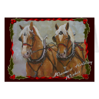 Belgian Draft horse team Holiday card on red