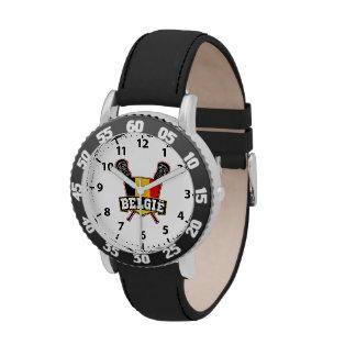 Belgian Flag Lacrosse Logo Wrist Watches