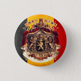 Belgian flag with coat or arm 3 cm round badge