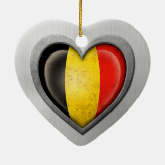 Belgian Heart Flag Stainless Steel Effect Ceramic Heart Decoration