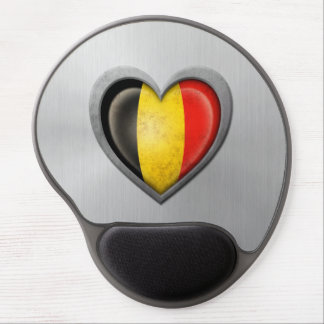 Belgian Heart Flag Stainless Steel Effect Gel Mouse Pad