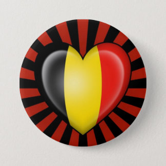 Belgian Heart Flag with Star Burst 7.5 Cm Round Badge