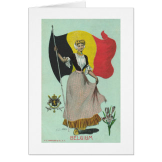 Belgian Lady & Flag - Early 1900s Card