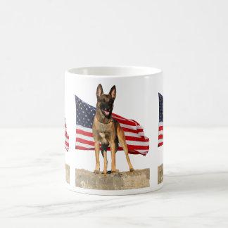 Belgian Malinois and Flag Mug