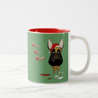 Belgian Malinois Christmas - Ho Ho Ho??? Two-Tone Coffee Mug