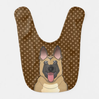 Belgian Malinois Dog Cartoon Paws Bib