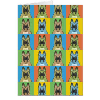 Belgian Malinois Dog Cartoon Pop-Art Card