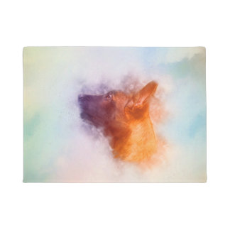 Belgian Malinois Puppy Painting - Mechelaar Doormat